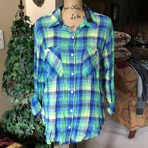 SANCTUARY Steady Boyfriend Spring Plaid shirt L